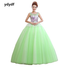 Free delivery,flowers print sweatheart tank sleeveless coloration mesh girls ball robe blue Quinceanera Dresses