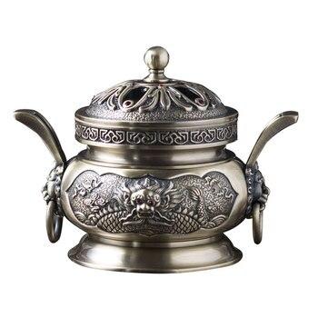 Chinese style retro metal incense burner incense holder bakhoor burner for backflow incense home decoration A15