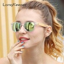 LongKeeper Polarized Wood Bamboo Sunglasses Women Brand Design Mens Real Wooden Arms Sun Glasses Mirrorr Lens Gafas de sol