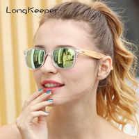 Longkeeper Polarizzati in Legno di Bambù Occhiali da Sole Delle Donne di Disegno di Marca Mens Reale Braccioli in Legno Occhiali da Sole Lente Mirrorr Gafas De Sol