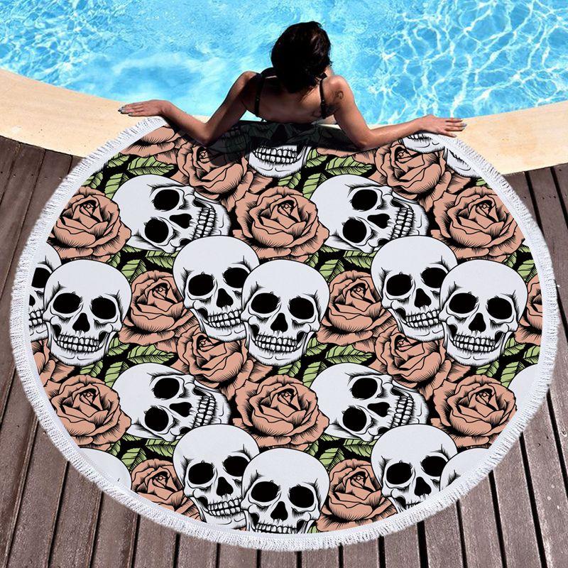 150CM Rose Skull Printed Tapestry Large Round Beach <font><b>Towel</b></font> High Quality Microfiber Girls Bath <font><b>Towels</b></font> Yoga Circle Mat With Tassels