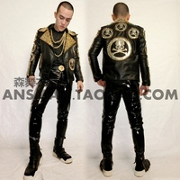 New Cool Male singer performance jacket costumes Crow heart skeleton rivet head locomotive leather costumes