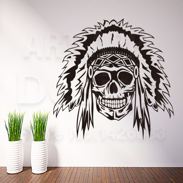 New design art home decor cheap vinyl indian chief skull wall sticker removable house decoration skeleton