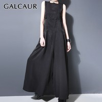 GALCAUR Casual Black Jumpsuit For Women V Neck Sleeveless High Waist Oversized Wide Leg Pants Female Fashion Clothes 2019 Summer