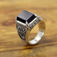 New Fashion Classical Vintage Design 925 silver ring with black stone,Luxury 925 Sterling silver Men rings with black onxy