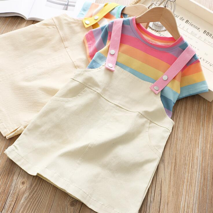 2019 Baby Girls Summer Cotton Dress Sets, Rainbow T-shirt+Jean Suspend Dress  5 sets/lot, Wholesale, Free Shipping