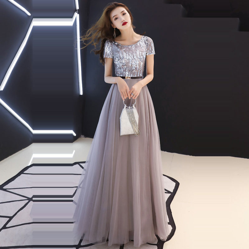 Evening Dresses Sexy O-neck  Zipper Robe De Soiree Short Sleeve Women Party Dress 2019 Long Plus Size Sequin Prom Dresses E582