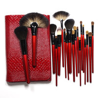 Professional Makeup Brushes Set 26 Pieces Goat Pony Hair With Crocodile Lether Red Bag Top Grade