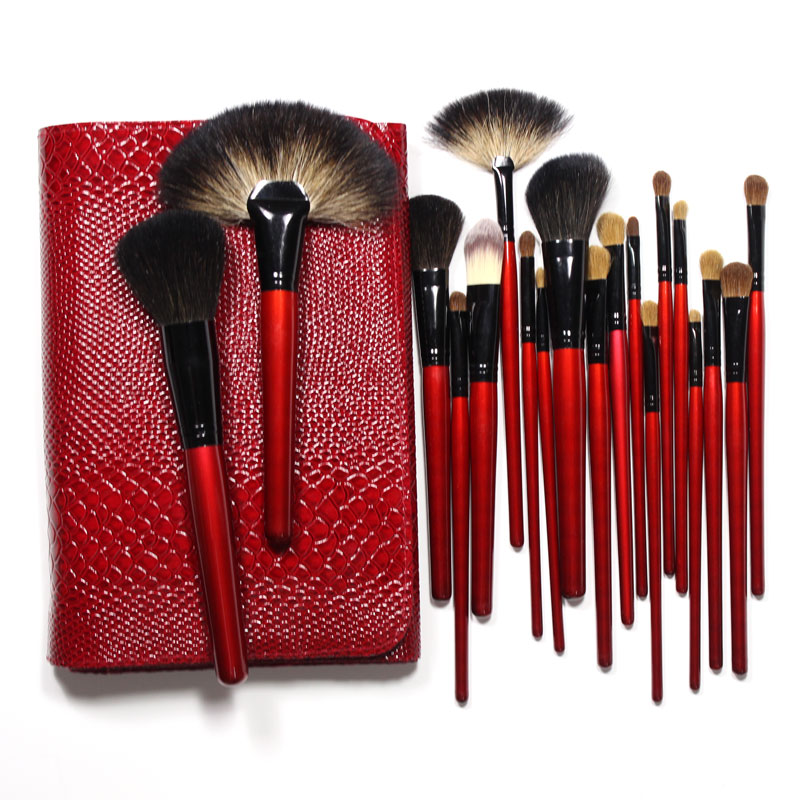 Focallure Top Grade Makeup Brushes Set 26 Pieces Professional Cosmetics Brush Tool Goat Pony Hair with Crocodile Lether Red Bag