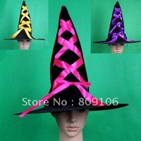 Wholesale Bar Masqueradesupplies Bow Satin Witch Hat 3 Colors Hat Free Shipping