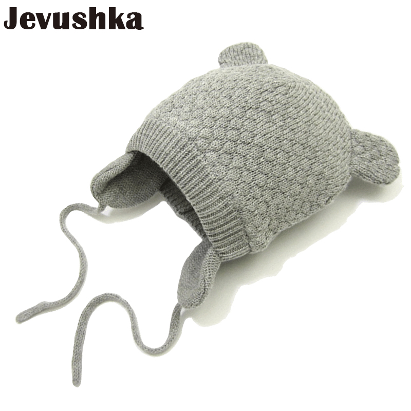 где купить Winter Cotton Baby Hat Knitted Beanie Girls and Boys Bomber Caps Cute Ears Hats for Kids Beanies Gorro HT014 дешево