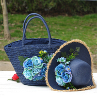 Women Straw Totes Hat Set Vintage Floral Beach Bags Fashion Summer Blue Bags Straw Hat Handmade Flower Bags for Travel Holiday