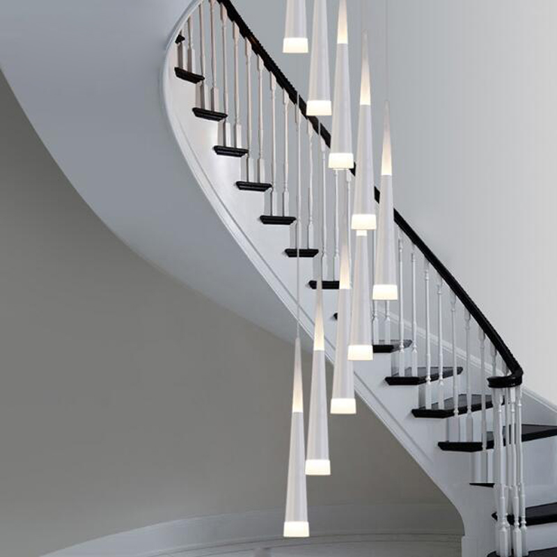 Creative double staircase chandelier art personality restaurant led chandelier malls high rotation staircase long chandelier led ten second staircase