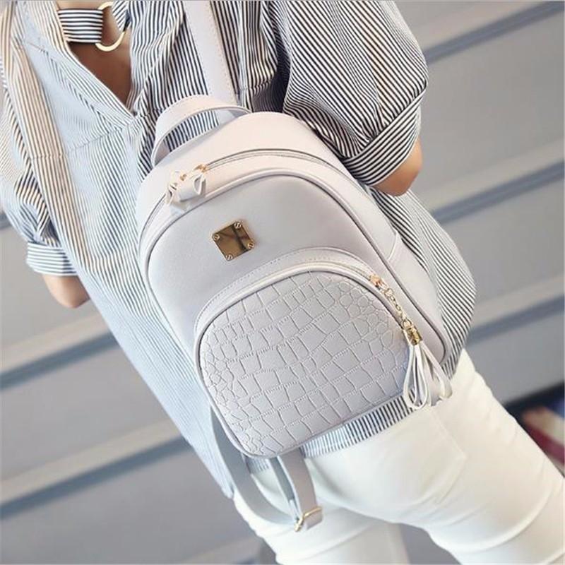 Female Backpack Women Backpack Leather Solid Classic Tassel Mini Teenage Girl School Backpack Ladies Rucksack Women Shoulder Bag