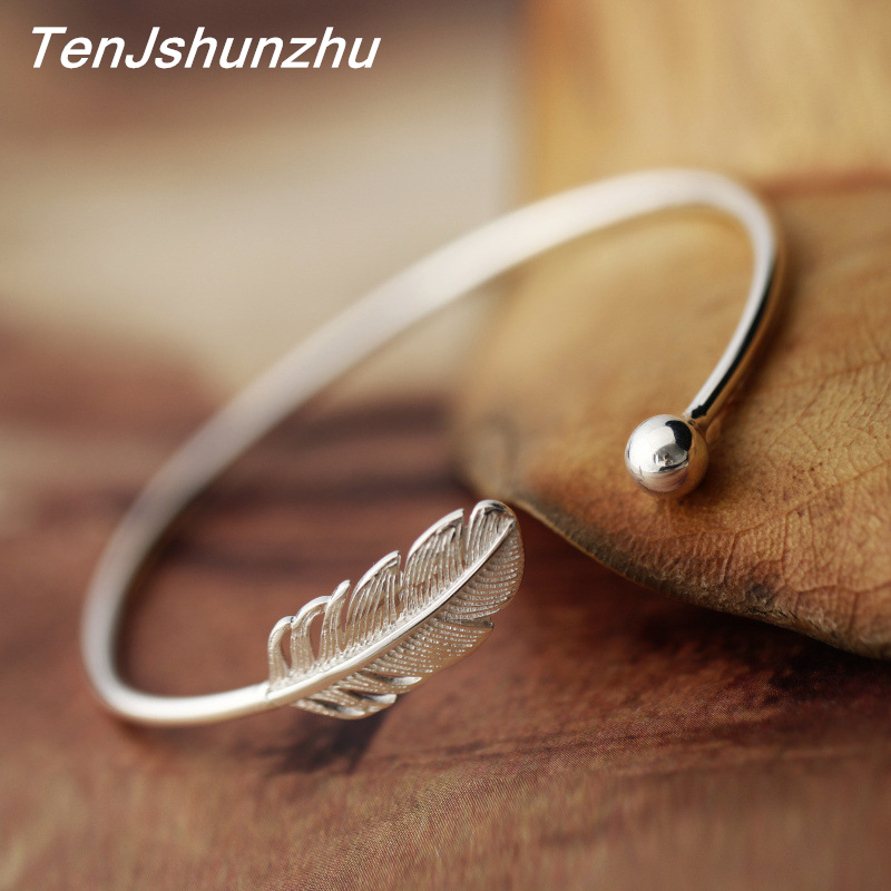 925 Sterling Silver Simple Feather Bracelets & Bangles For ...
