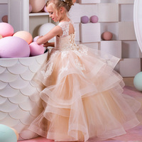 Gorgeous Champagne Ball Gown Puffy Tulle Flower Girl Dresses Lace Appliqued Ruffles Tiered Holy First Communion Kids formal Gown