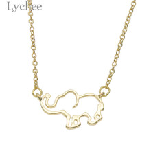 Lychee Trendy Alloy Hollow Lucky Elephant Pendant Female Necklace Gold Color Silver Color Link Chain Women Necklace Jewelry
