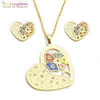 Yunkingdom colorful fashion crystal titanium jewelry sets for women  stainless steel pendant necklace earring sets UE0166 bc534610da8c