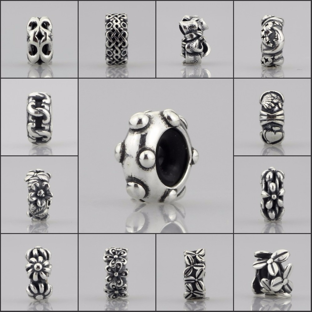 Authentische 925 Sterling Silber Spacer Stopper Mokka Bogen Blume Footprint Perle Charme Fit Europäischen Troll 3,0mm Armband Schmuck