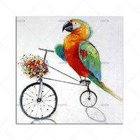 Pop Unframed Moderne Interieur Papegaai Olieverfschilderijen Vogels Cartoon Pictures Handgemaakte Decoratieve Schilderijen Voor Muur