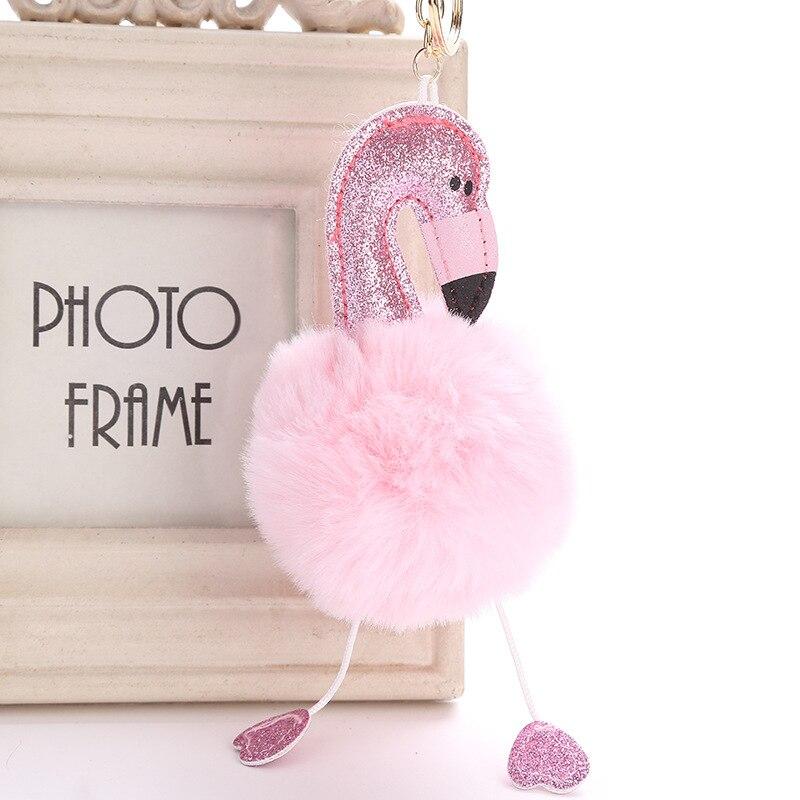 Bonito dos desenhos animados das mulheres pompom fofo glitter flamingo pelúcia chaveiro bolsa pingente de carro chaveiro fivela de chave chilren brinquedos 6c1237