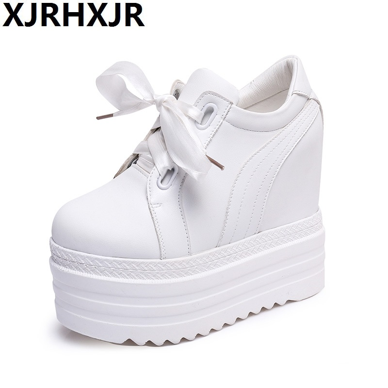 XJRHXJR 12cm High Heels Shoes Woman Fashion Lace Up Platform Wedges High Heels Women Casual Leather Shoes for Autumn Winter xjrhxjr women s lace up high heels women pumps british style leather shoes thick heel round toe platform casual shoes for girls