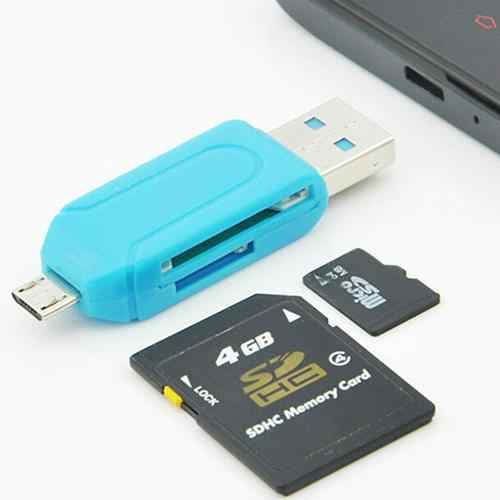 2 in 1 USB 2.0 OTG Card Reader Universal Micro USB TF SD Card Reader for PC Phone