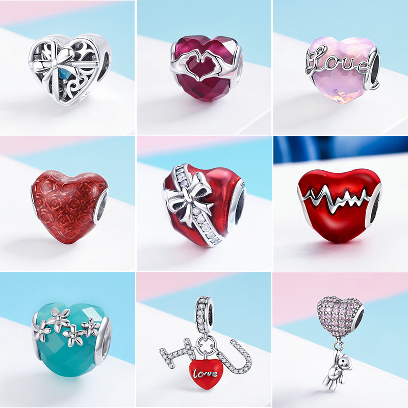 INBEAUT 100% 925 Sterling Silver Love In Heart Charms Red Enamel CZ  Heart-shaped  I Love You Gift Beads Fit Pandora Bracelet