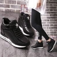 Sneakers Sleeehak Height Increasing Sneakers High Heel Casual White Sneakers Shoes Women Platform Shoes Wedges Krasovki Black