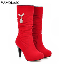 VAMOLASC New Women Autumn Winter Faux Suede Mid Calf Boots Crystals Thin High Heel Boots Platform Women Shoes Plus Size 34-43