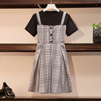 XL 5XL Women Large Plus Size Plaid Vintage Mini Dress T shirt Patchwork short summer dress Casual korean vestidos 2019 festa