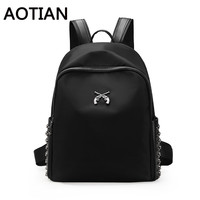 2017 Aotian New Backpacks Fashion Woman Backpack Nylon Women Bag High Quality Multifunction Gun LogoBlack Bag