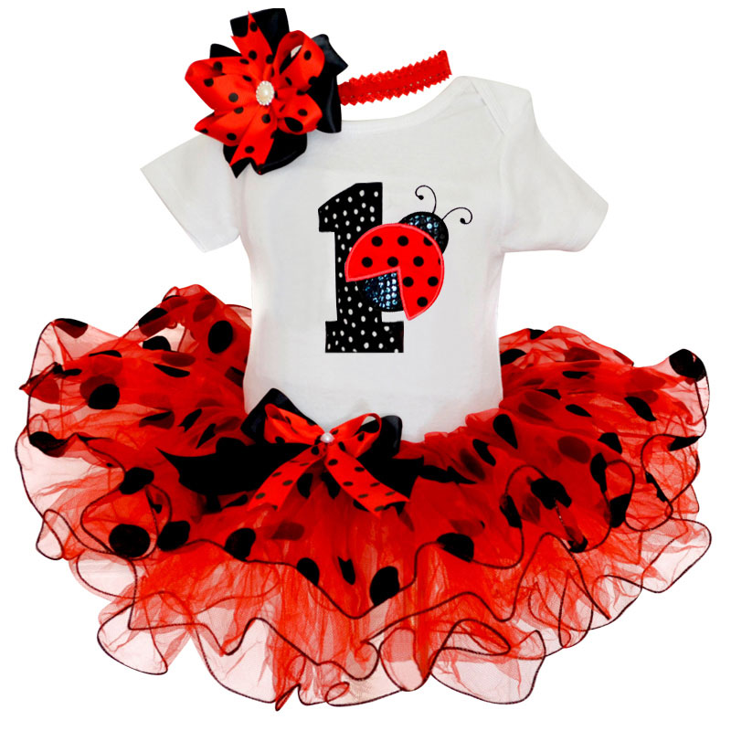 My Baby Girl Clothing Fancy Dot Dress For Girls Baptism Christening Gown 1 Year Girl Baby Birthday Dress Print Ladybug Dresses