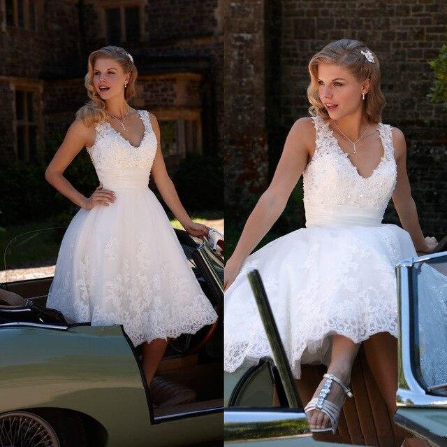 Hot Sale V Neck Beaded Lace A Line Tea Length Short Wedding Dresses Bridal Gowns Custom