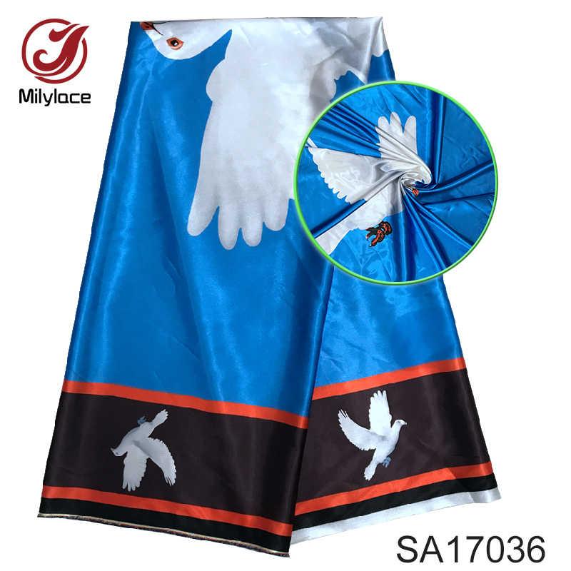 Горячая продажа Африканский Воск узор атласная шёлковая ткань цифровой печати ткань сатин-стрейч нигерийский дизайн атласная ткань SA17036