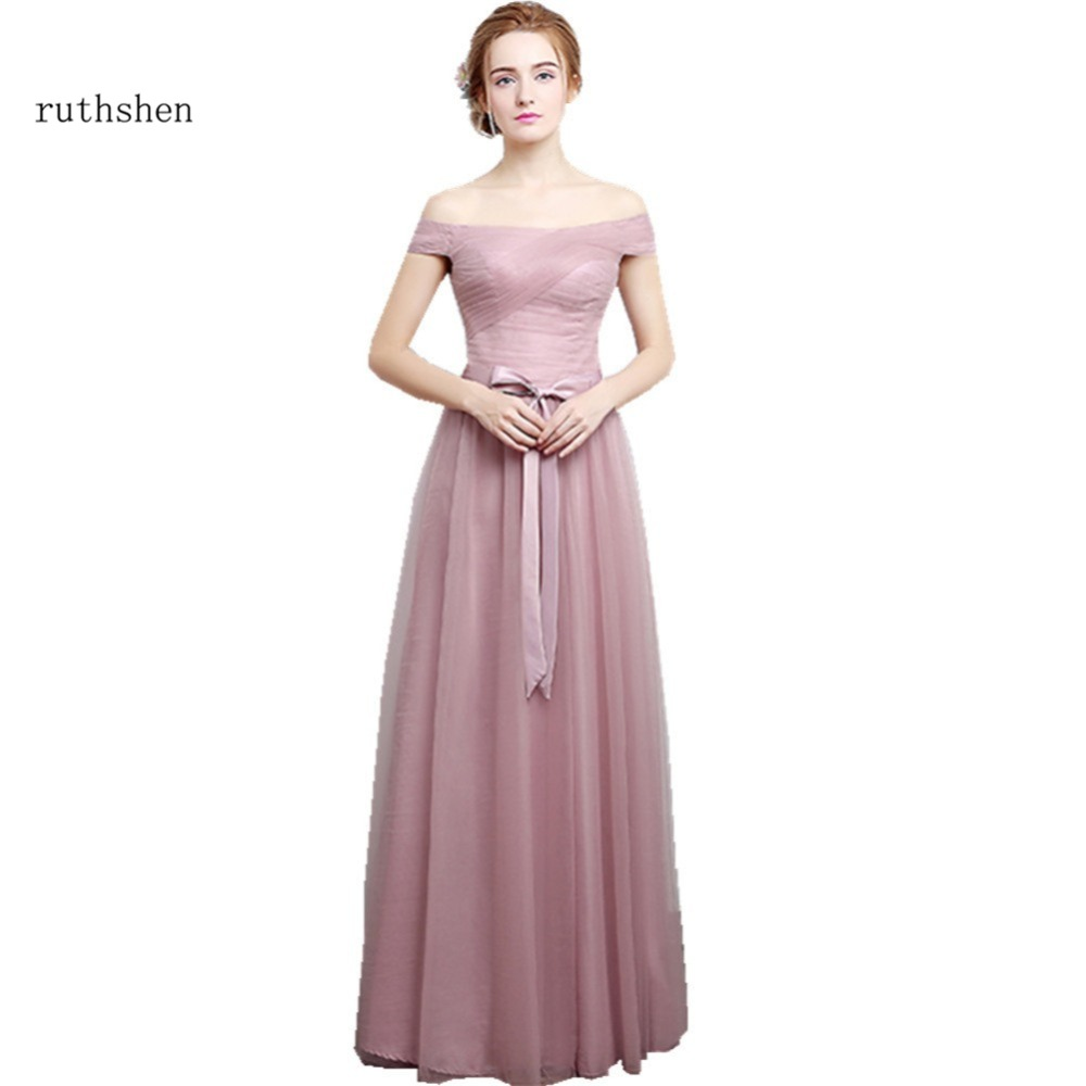 Bridesmaid dresses silver promotion shop for promotional ruthshen 2017 new bridesmaid dresses long off shoulder pleated pink silver tulle brides maid wedding party dress cheap ombrellifo Image collections