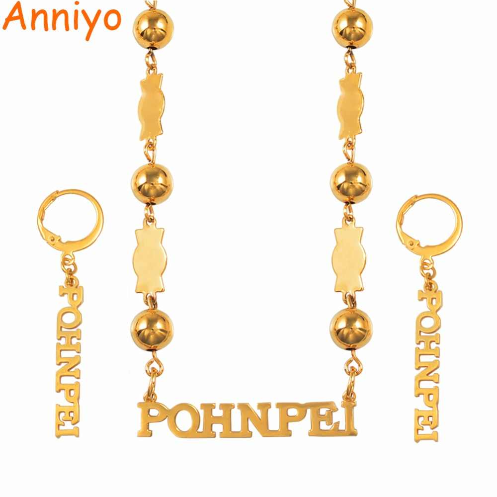 Anniyo Pohnpei Island Federated States of Micronesia Beads Necklace Earrings Jewelry Sets for Womens Ponape Gifts #057721