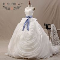 3D Ruffled Organza Wedding Ball Gown Blue Sash Lace Up Back Wedding Dresses Vestidos De Noiva