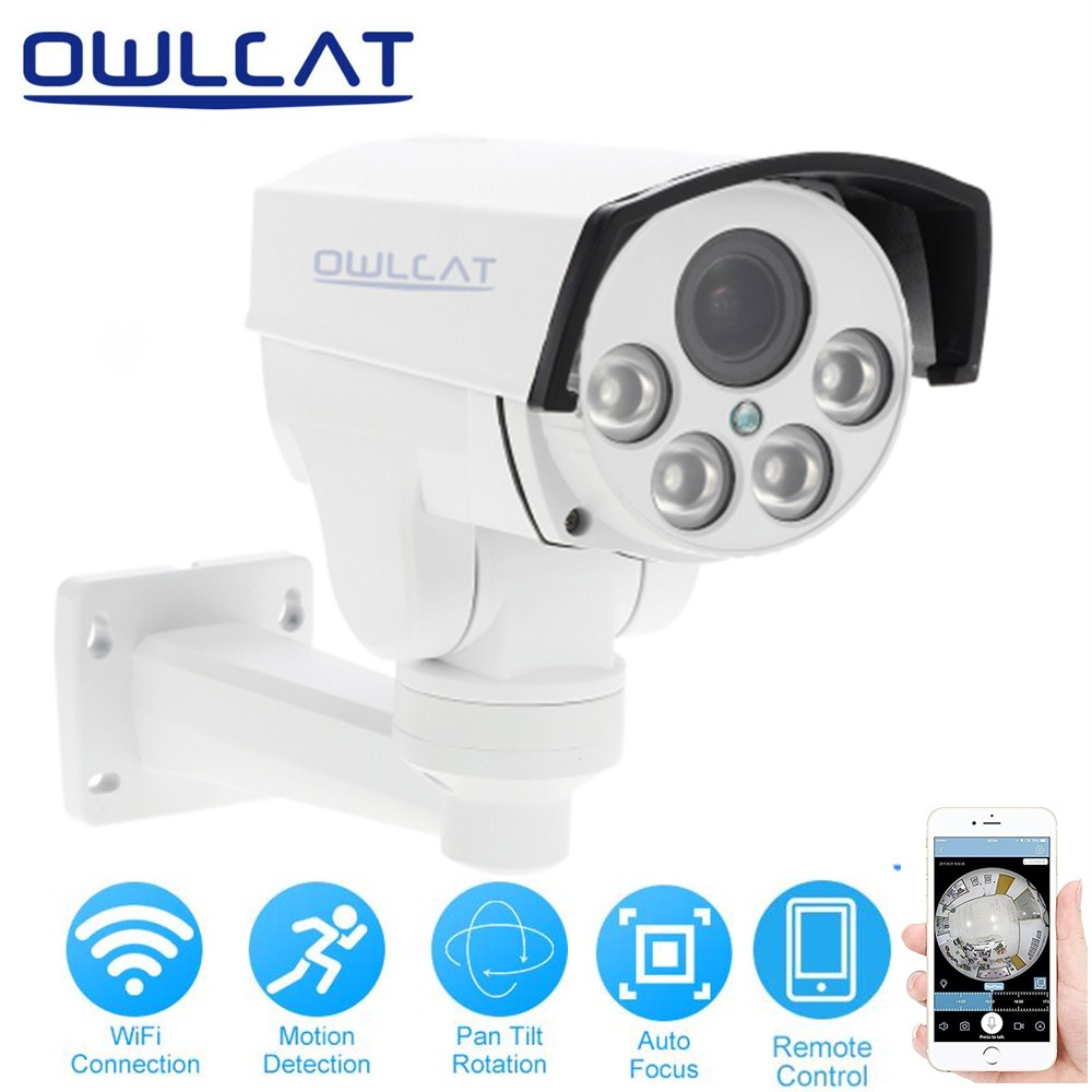 OwlCat Wireless PTZ IP Camera Outdoor 1080P HD 5X Zoom Pan Tilt Rotation CCTV Security Network IP Camera Wifi IR CUT ONVIF P2P owlcat wifi ip camera bullet outdoor waterproof onvif wireless network kamara 2mp full hd 1080p 720p security cctv camera