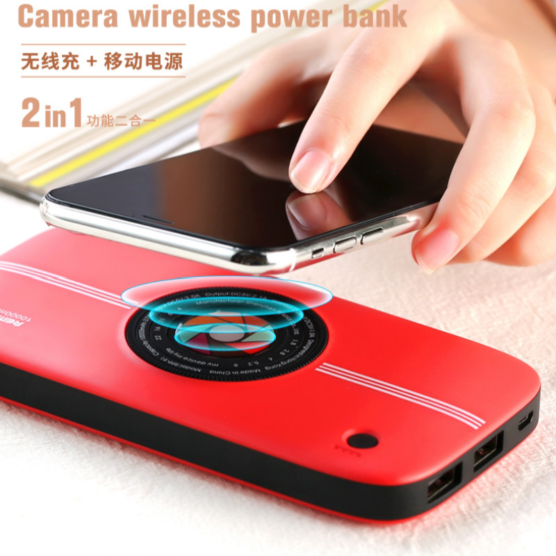 Remax 10000mAh Camera QI Wireless Charger Dual USB Power Bank For iPhone Samsung Powerbank USB Charger Wireless External Battery