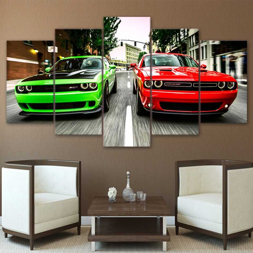 Modern HD Printed Painting Canvas Home Decor 5 Pieces Challenger Green Red Cars Landscape Poster Frame Wall Art Pictures PENGDA