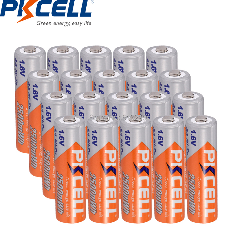 20pcs PKCELL NIZN battery 1 6v AA 2500MWH rechargeable batteries Nickel Zinc Rechargeable Battery for toy