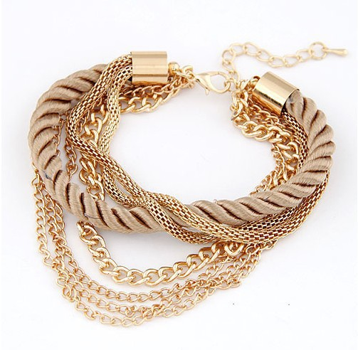 Free Shipping Bohemian Woven Braid Charm Bracelet Multi Layer Gold Bracelet Women