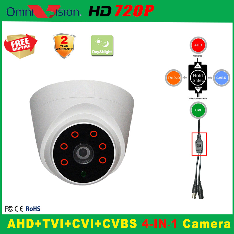 720P Indoor Security AHD TVI CVI Analog  CCTV Camera 18*6PCS IR LED Home Video HD Night Vision CMOS Mini Plastic Dome IR Camera analog hd 1080p tvi camera dome 720p ir 20m night vision video security surveillence indoor 3 6mm lens cctv hdtvi camera