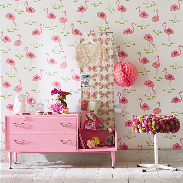 Tuya Art Wallpaper For Girl Room Cute Pink Flamingo Pattern Princess And Kid