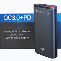 quick charge 3.0 PD fast charger 18W digital display 20000mah power bank portable External battery for iphone quick charging
