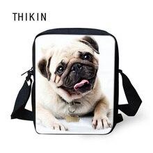 THIKIN Cute Pet Animal Messenger Bag for Girls Boys Small Crossbody Bags Pug Dog Bolso Women Kids Shoulder Causal Rucksack 2019 недорого