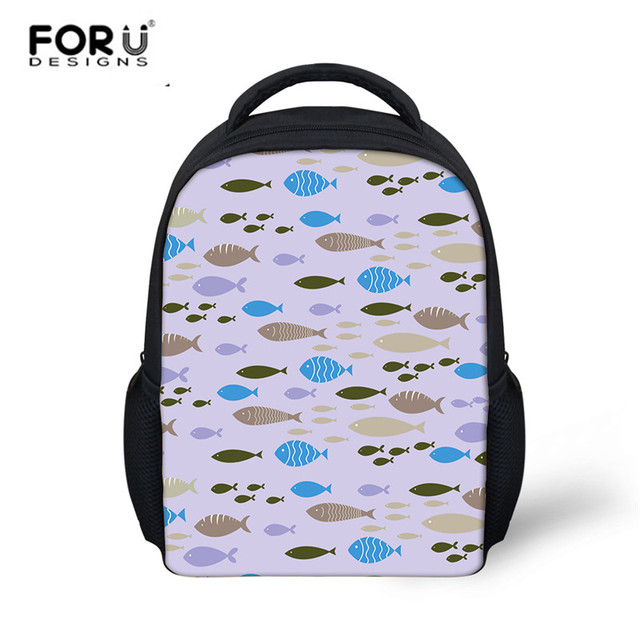 FORUDESIGNS Kids Girls Cute Fashion School Backpack Cartoon Fish Pattern  Schoolbag for Child Boys Mini Canvas Rucksack Sac A Dos 69d8136402d42