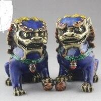 Коллекция китайского народного скульптура перегородчатой древние костюмы украшения дома Львы ювелирных изделий, высокая 13 см