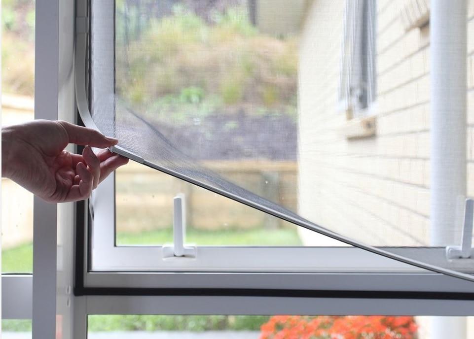 Easy To Install Magnetic Window Screen / White Frame With Black Fiberglass PP Mesh / DIY KIT